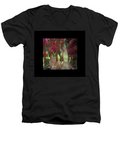 Men's V-Neck T-Shirt featuring the photograph Orange Cat In The Shade by Absinthe Art By Michelle LeAnn Scott