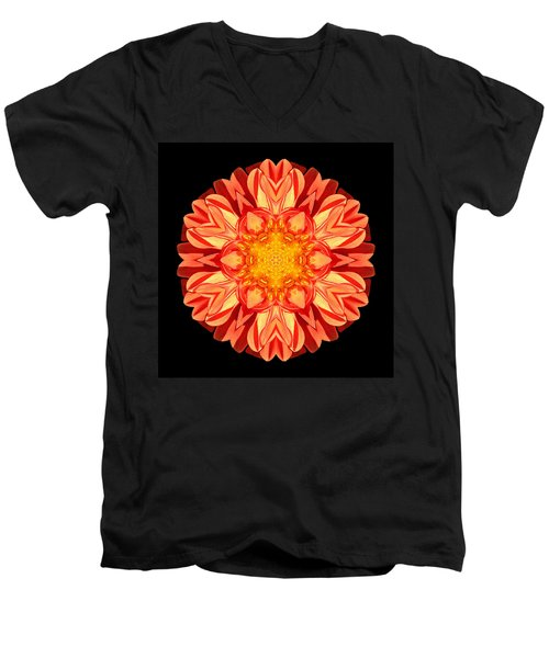 Orange Dahlia Flower Mandala Men's V-Neck T-Shirt by David J Bookbinder
