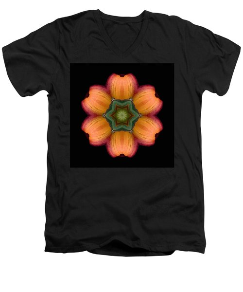 Orange Daylily Flower Mandala Men's V-Neck T-Shirt by David J Bookbinder