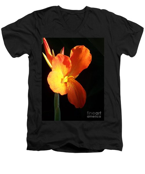 Orange Flower Canna Men's V-Neck T-Shirt by Eric  Schiabor