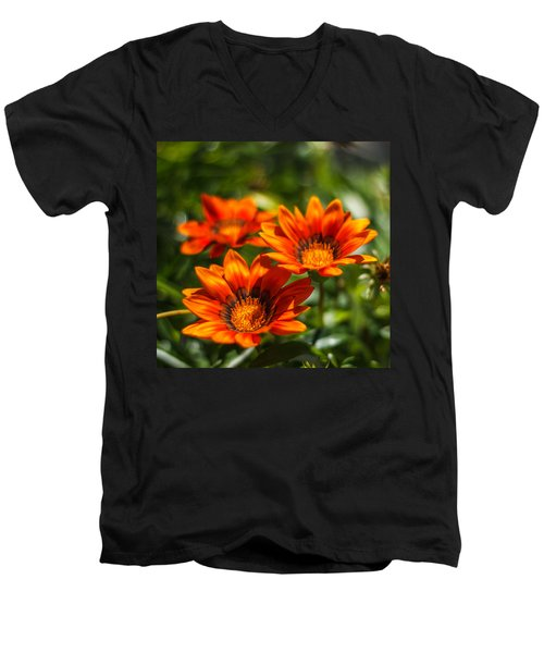 Men's V-Neck T-Shirt featuring the photograph Orange Flowers by Jane Luxton