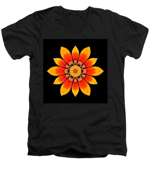 Orange Gazania I Flower Mandala Men's V-Neck T-Shirt by David J Bookbinder