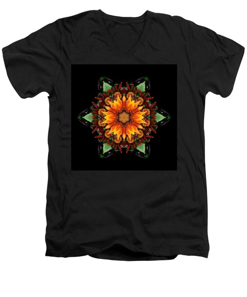 Orange Gazania IIi Flower Mandala Men's V-Neck T-Shirt by David J Bookbinder