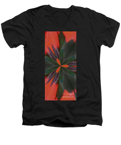 Men's V-Neck T-Shirt featuring the digital art Orange Green And Purple by Smilin Eyes  Treasures