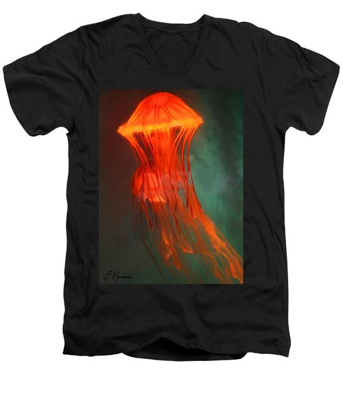 Orange Jellies Men's V-Neck T-Shirt by Ellen Henneke