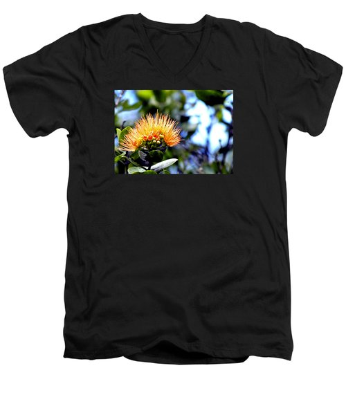 Men's V-Neck T-Shirt featuring the photograph Orange Lehua On Volcano Ranch by Lehua Pekelo-Stearns