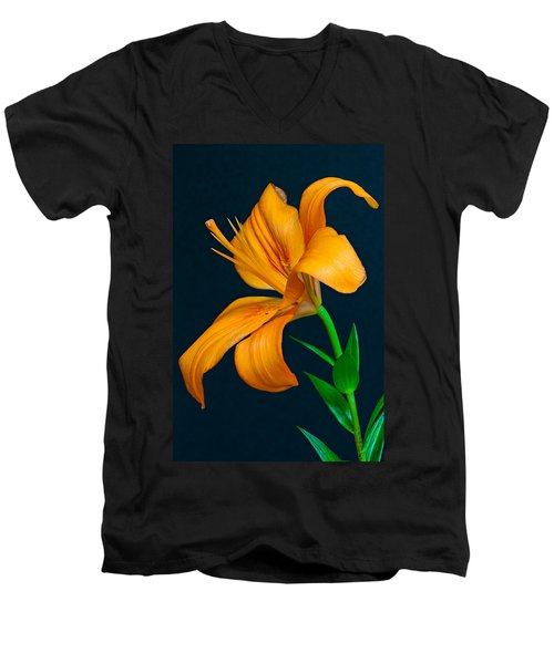 Orange Lily Profile Men's V-Neck T-Shirt