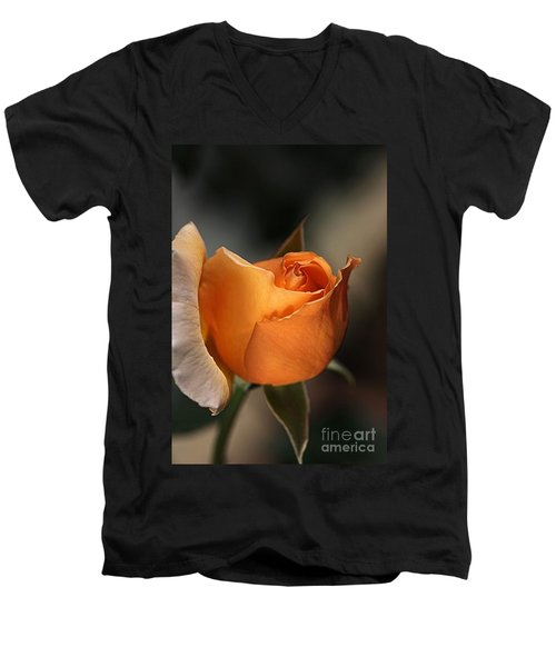 Men's V-Neck T-Shirt featuring the photograph Orange Mood by Joy Watson