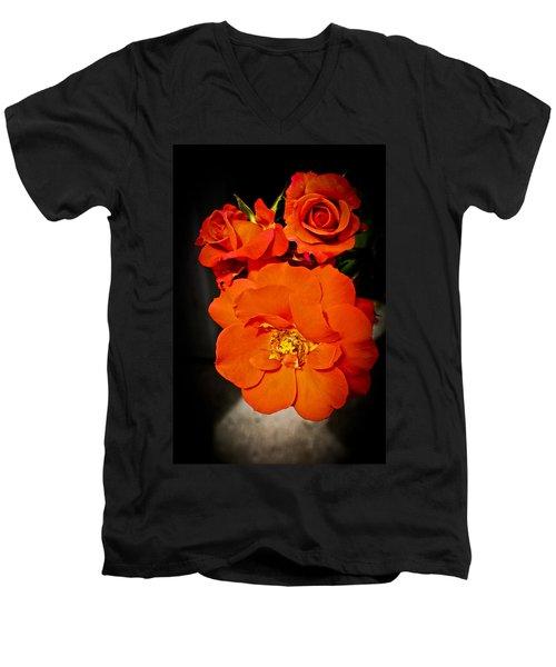 Men's V-Neck T-Shirt featuring the photograph Orange Rose Trio by Joann Copeland-Paul
