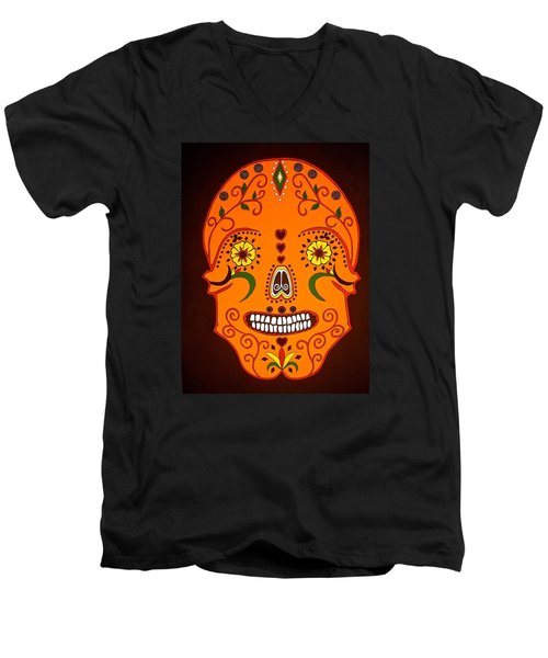 Orange Sugar Skull Men's V-Neck T-Shirt by Stephanie Moore