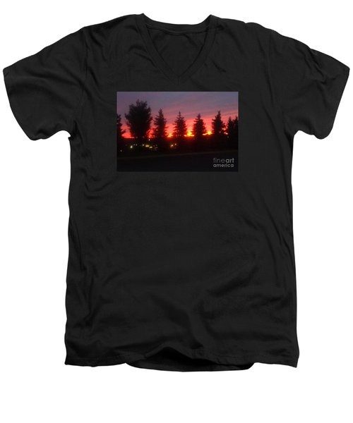 Men's V-Neck T-Shirt featuring the photograph Orange Sunset by Christina Verdgeline