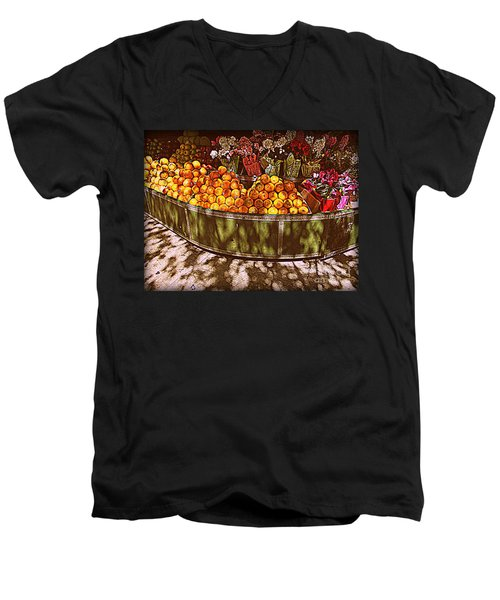 Oranges And Flowers Men's V-Neck T-Shirt by Miriam Danar