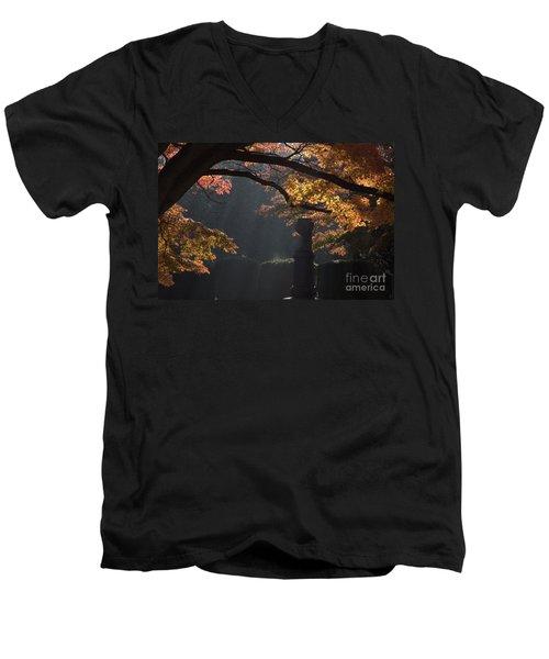 Men's V-Neck T-Shirt featuring the photograph Orangish by Steven Macanka