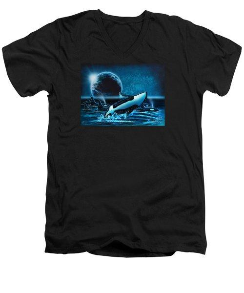 Orcas At Night Men's V-Neck T-Shirt