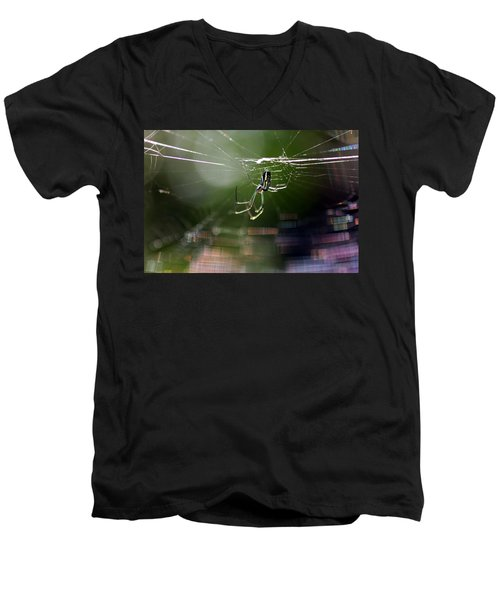 Men's V-Neck T-Shirt featuring the photograph Orchard Web by Greg Allore