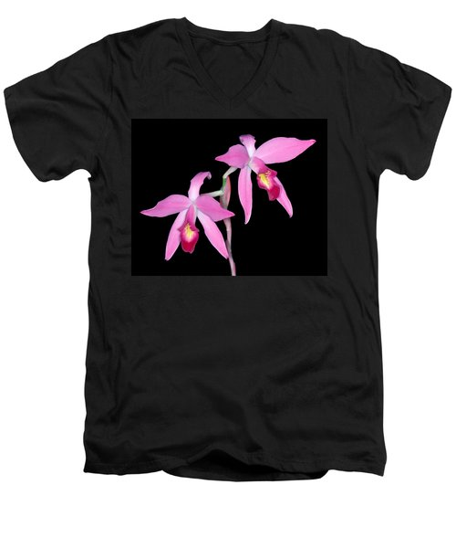 Orchid 1 Men's V-Neck T-Shirt by Andy Shomock