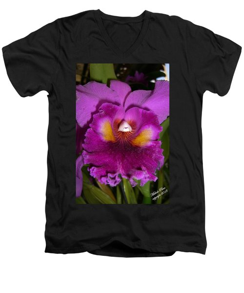 Orchid Flames Men's V-Neck T-Shirt