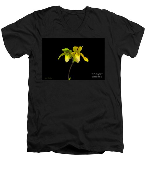 Men's V-Neck T-Shirt featuring the photograph Orchid Paphiopedilum Druid Spring by Susan Wiedmann