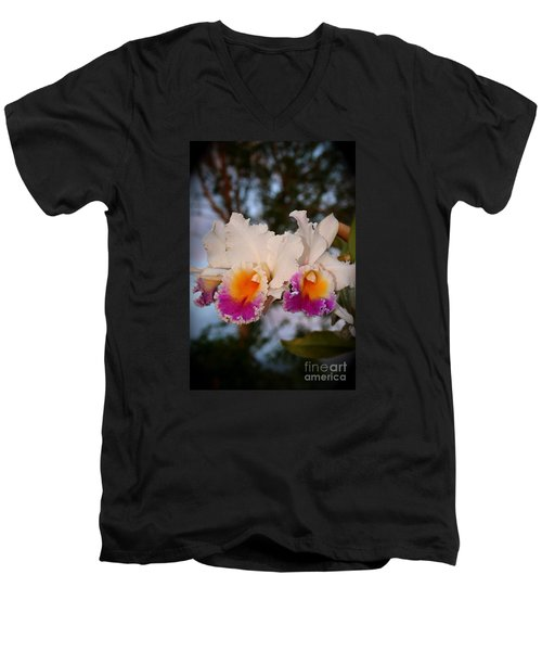 Men's V-Neck T-Shirt featuring the photograph Orchid Elsie Sloan by The Art of Alice Terrill