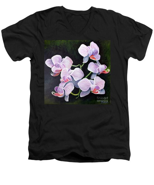 Orchids II Men's V-Neck T-Shirt by Debbie Hart