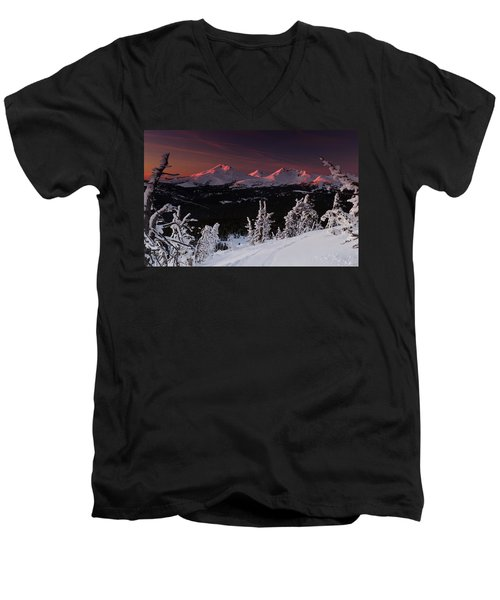 Oregon Cascades Winter Sunset Men's V-Neck T-Shirt by Kevin Desrosiers