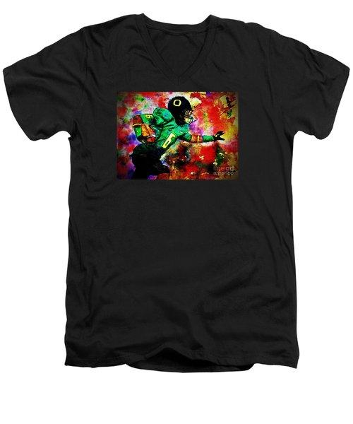 Oregon Football 3 Men's V-Neck T-Shirt by Michael Cross