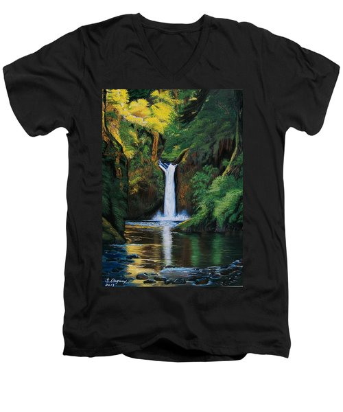 Oregon's Punchbowl Waterfalls Men's V-Neck T-Shirt