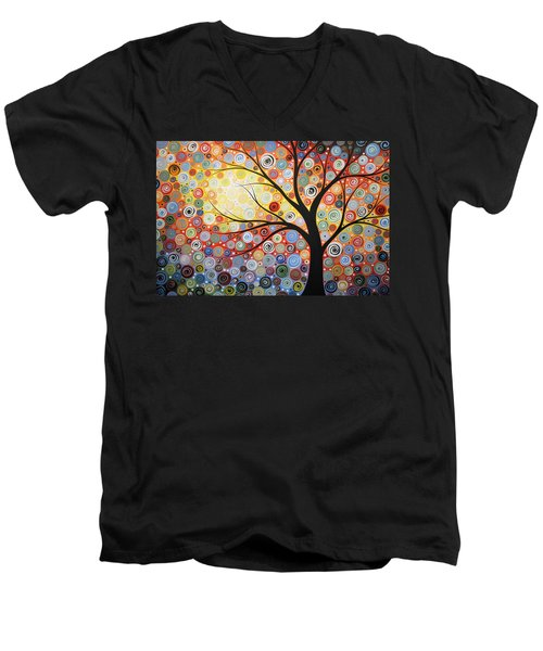 Men's V-Neck T-Shirt featuring the painting Original Painting Print Titled Celestial Sunset by Amy Giacomelli