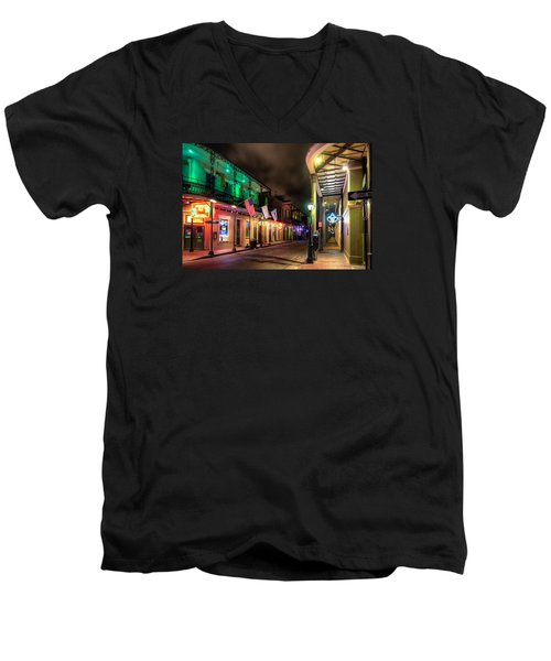 Orleans And Bourbon Men's V-Neck T-Shirt by Tim Stanley