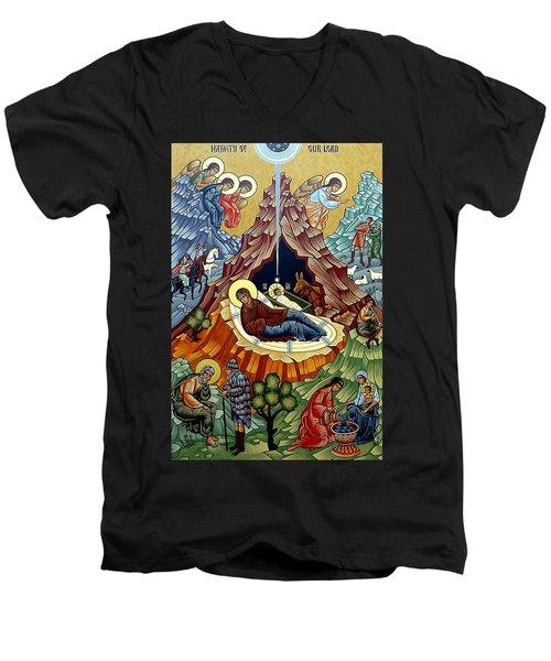 Orthodox Nativity Of Christ Men's V-Neck T-Shirt by Munir Alawi