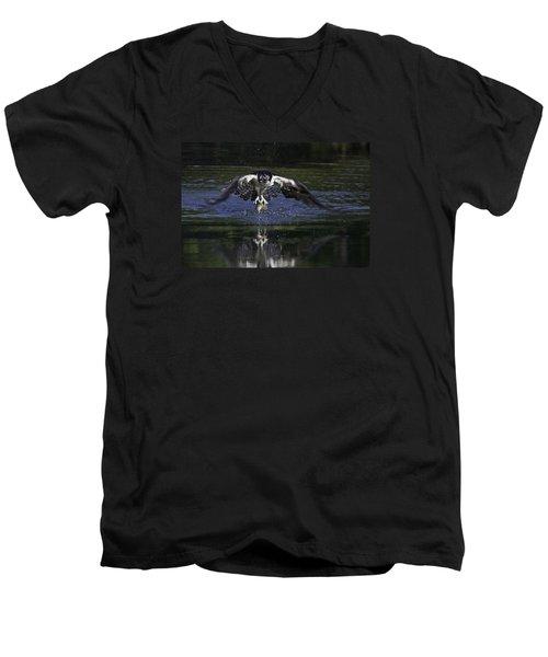 Osprey Bird Of Prey Men's V-Neck T-Shirt by David Lester