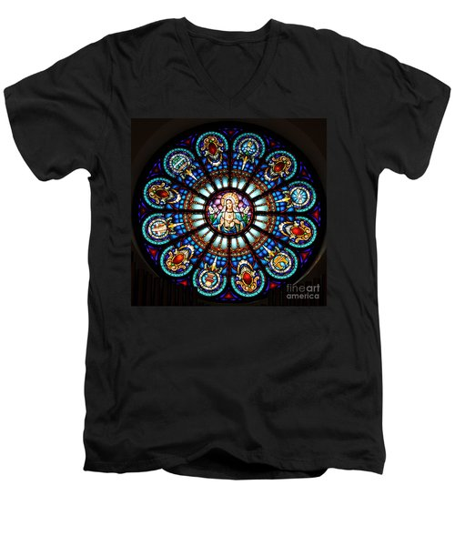Our Blessed Mother Men's V-Neck T-Shirt by Debby Pueschel