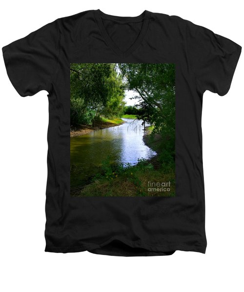 Men's V-Neck T-Shirt featuring the photograph Our Fishing Hole by Peter Piatt