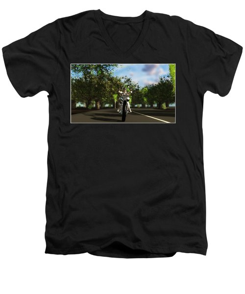 Men's V-Neck T-Shirt featuring the digital art Out For A Ride... by Tim Fillingim