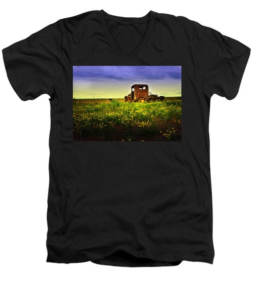 Out To Pasture Men's V-Neck T-Shirt by Sonya Lang