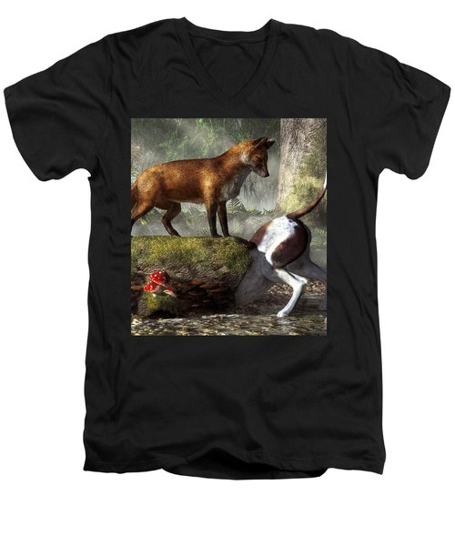 Outfoxed Men's V-Neck T-Shirt
