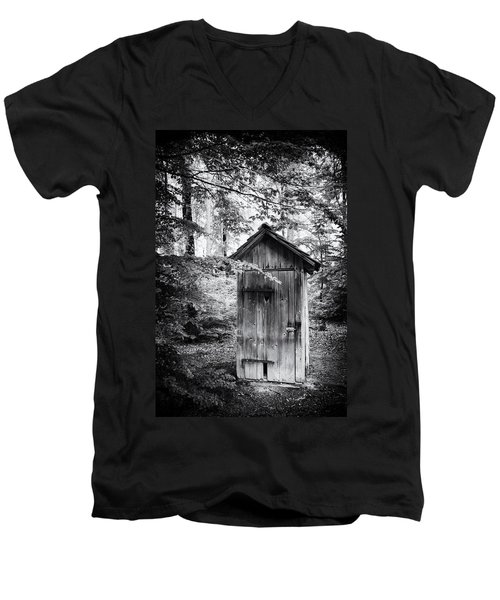 Outhouse In The Forest Black And White Men's V-Neck T-Shirt