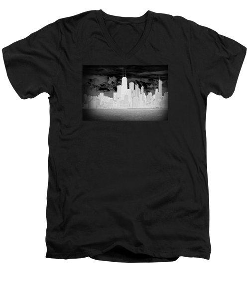 Outline Of Chicago Men's V-Neck T-Shirt by Milena Ilieva