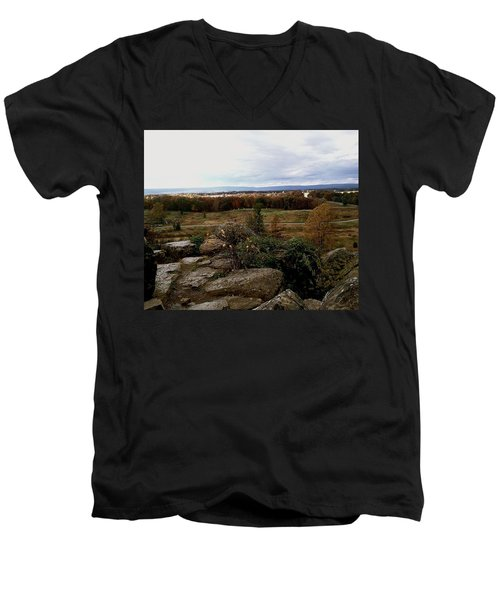 Men's V-Neck T-Shirt featuring the photograph Over The Battle Field Of Gettysburg by Amazing Photographs AKA Christian Wilson