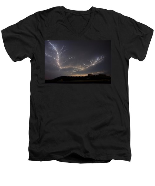 Men's V-Neck T-Shirt featuring the photograph Over The Lake by Charlotte Schafer