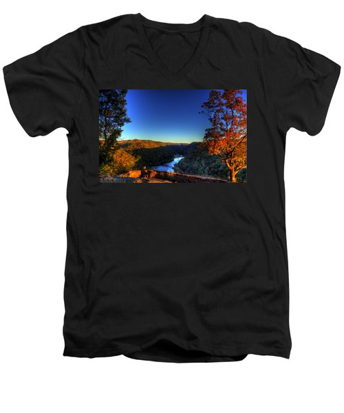 Men's V-Neck T-Shirt featuring the photograph Overlook In The Fall by Jonny D