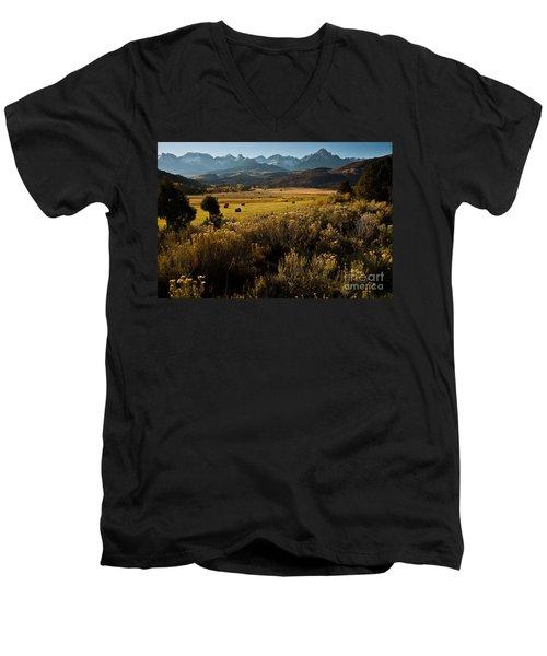 Overlook To Mt. Sneffles Men's V-Neck T-Shirt by Steven Reed