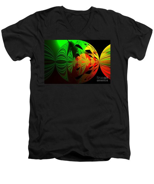Art. Unigue Design.  Abstract Green Red And Black Men's V-Neck T-Shirt