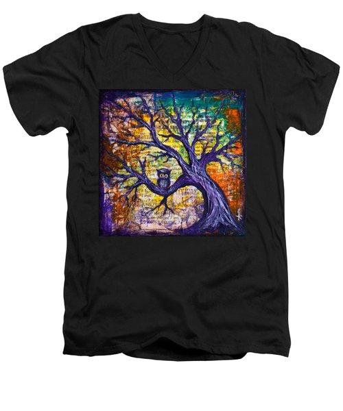 Men's V-Neck T-Shirt featuring the painting Wisdom Of Gratitude by Agata Lindquist