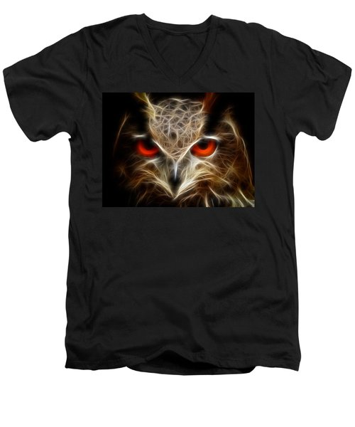 Owl - Fractal Artwork Men's V-Neck T-Shirt
