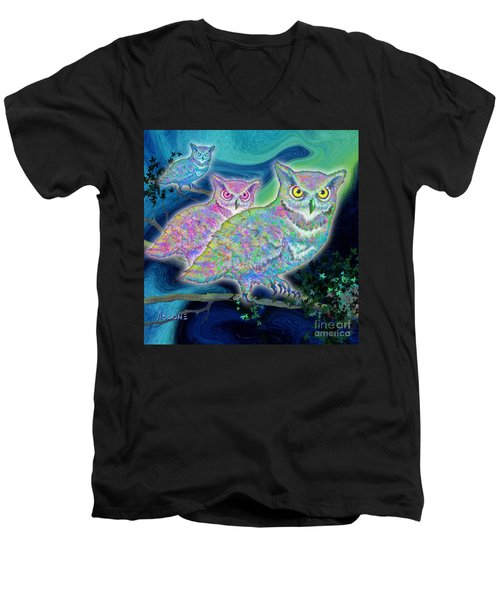 Men's V-Neck T-Shirt featuring the painting Owls At Midnight  Square by Teresa Ascone