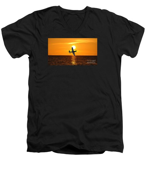 P-51 Sunset Men's V-Neck T-Shirt by John Black