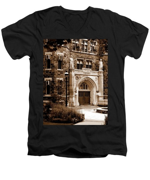 Men's V-Neck T-Shirt featuring the photograph Packard Laboratory Sepia by Jacqueline M Lewis