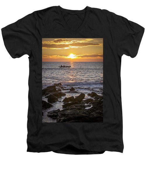 Paddlers At Sunset Portrait Men's V-Neck T-Shirt by Denise Bird