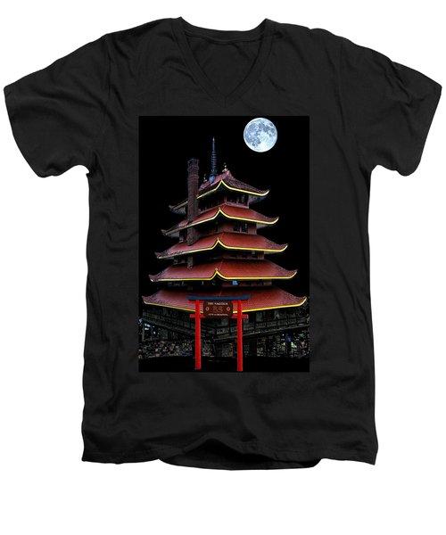 Pagoda Men's V-Neck T-Shirt by DJ Florek